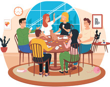 Young People Communicate In The Apartment And Spend Time Together. Colleagues Are Playing With Cards. Boys And Girls Play Board Game And Eat. The Cat Sits On The Table And Looks At The Woman