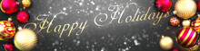 Happy Holidays And Christmas,fancy Black Background Card With Christmas Ornament Balls, Snow And An Elegant Word Happy Holidays, 3d Illustration