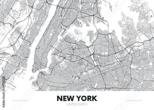 Fototapeta City map New York USA, travel poster detailed urban street plan, vector illustra