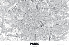 City Map Paris France, Travel Poster Detailed Urban Street Plan, Vector Illustration