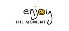Slogan Enjoy The Moment Or Enjoy Every Moment. Vector Design, Inspiration Message Moment. Motivation With Happy Smile. Hand Drawn Word For Possitive Emotions Quotes For Banner Or Wallpaper.
