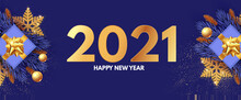 Happy New 2021 Year Design Template With Gifts, Fir Tree Branches, Glossy Golden Balls And Gold Snowflakes