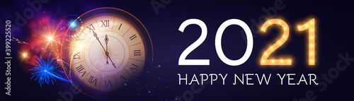 Fotografia, Obraz Happy New 2021 Year Background with Clock, Snowflakes and Bokeh Effect