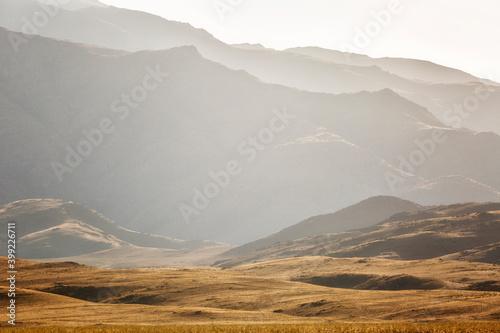 Fototapeta Mountain range at sunset, Uzbekistan obraz