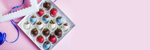 Great Festive Background With Free Space. Chocolate Covered Strawberries In A Gift Box On A Pink Background, Dessert For Valentine's Day, Romance, Food As A Gift. Romantic Postcard With Free Space.