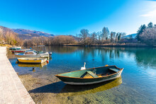 Fishing Boats On Adda River In Brivio Town Of Italy