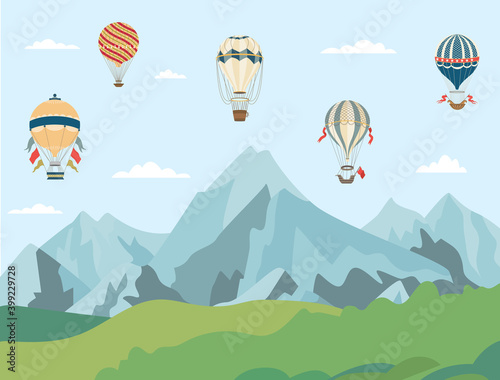 Hot air balloons flying over mountain landscape - cartoon banner Fototapete