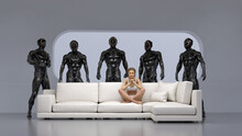 Innocent Woman Resting On The Couch Surrounded By Strong Robots
