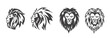 Lion head logo set, vector emblem.