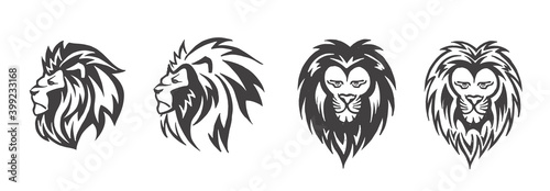 Fototapety, obrazy: Lion head logo set, vector emblem.