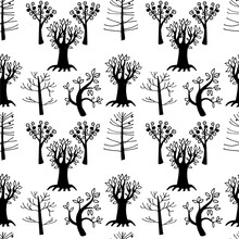 Graphics Stylized Black Trees On A White Background