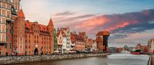 Sunset Over The Motława River In Gdańsk