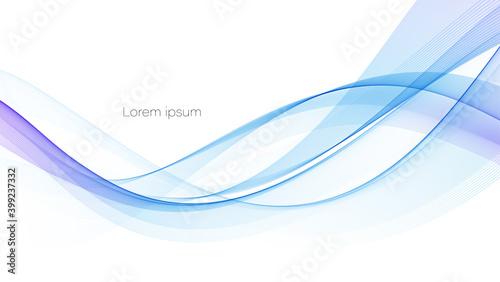 Obraz Vector blue color abstract wave design element - fototapety do salonu