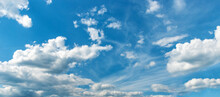 Picturesque Blue Sky With Large Beautiful Clouds On A Bright Sunny Day. Sky Replacement Template
