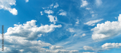 Fototapeta Picturesque blue sky with large beautiful clouds on a bright sunny day. Sky replacement template obraz