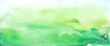 Watercolor painting, landscape of bright green grass, steppe, yellow flowers, plants, field, meadow against a bright blue sky. On a white background. Logo, card for your design. Blue, green spot.
