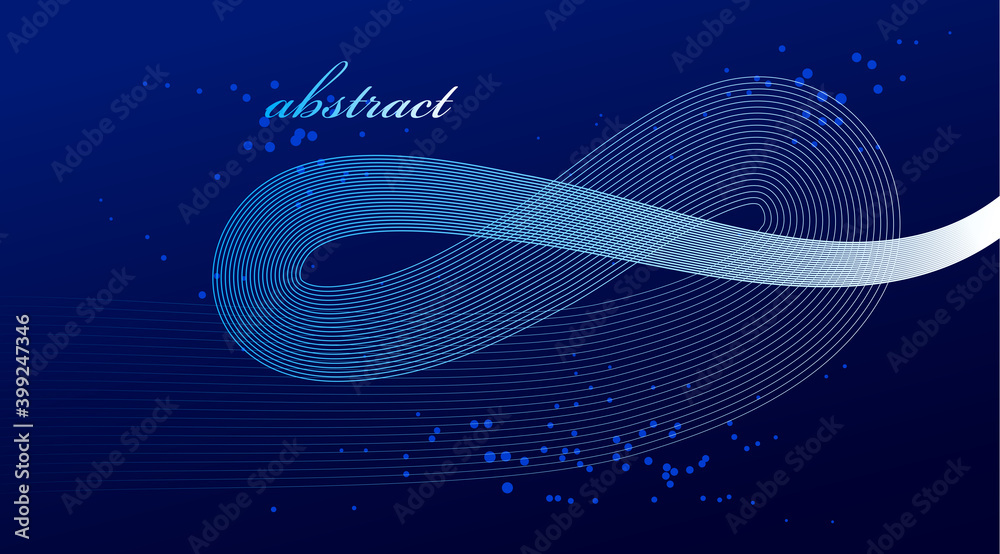Fototapeta Blue 3D lines in motion dimensional vector abstract background, elegant curvy light stripy design element, template for banner or poster and other ads.