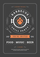 Barbecue Party Vector Flyer Or Poster Design Template