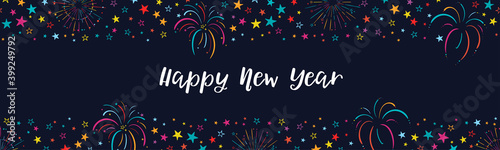 Fototapeta Fun hand drawn fireworks and stars, happy new year, great for greeting cards, banners, wallpapers - vector design obraz
