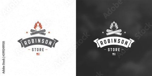 Fotografia, Obraz Campfire logo emblem vector illustration outdoor forest camping bonfire silhouet