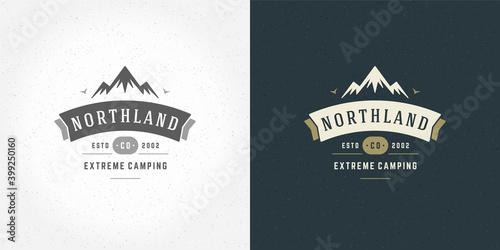 Canvas Mountain camping logo emblem outdoor landscape vector illustration rock hills si