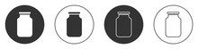 Black Glass Jar With Screw-cap Icon Isolated On White Background. Circle Button. Vector.