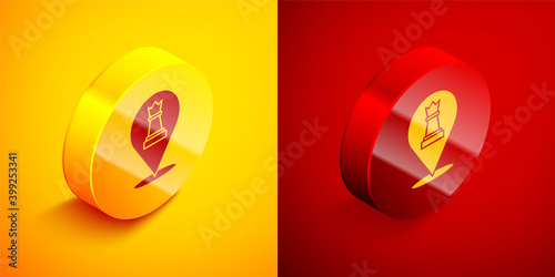 Canvas-taulu Isometric Chess icon isolated on orange and red background