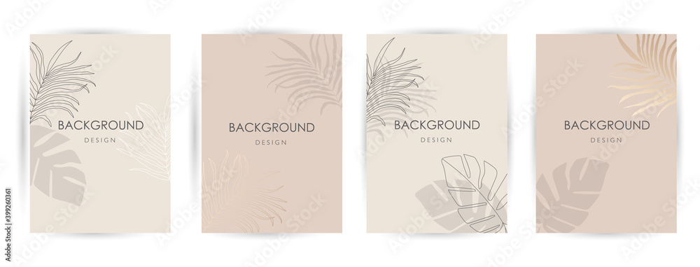 Fototapeta Elegant continuous line drawing. Minimal Set of abstract creative universal artistic templates. Good for poster, card, invitation, flyer, cover, banner, placard, brochure and other graphic design.