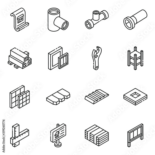 Fototapeta Pack of Construction and Real Estate Glyph Isometric Icons