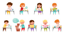 Inventive Kids Engaged In Upcycling Reusing Recyclable Materials Vector Set