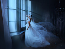Fantasy Gothic Woman Ghost Bride Stands By Window In Black Dark Room, Magic Moon Light. Fairy Snow Queen In White Dress, Cape Flying In Wind, Train Skirt Fluttering Motion. Medieval Vintage Princess