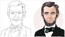 Hand Drawn Vector Portrait. Abraham Abe Lincoln