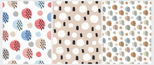 Simple Hand Drawn Dotted Print. Seamless Vector Patterns With Irregular Spots Isolated On A White And Beige Background. Brush Polka Dots And Black Spots Repeatable Design. Abstract Geometric Template.