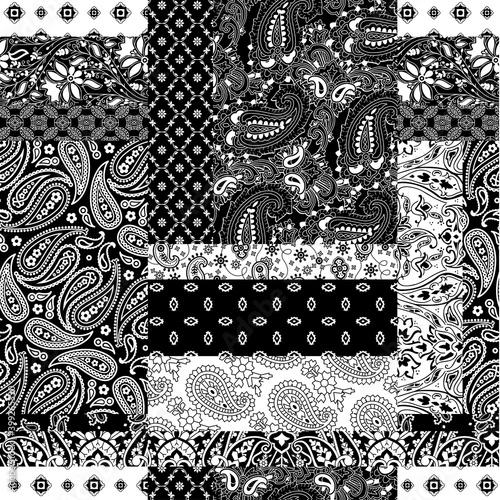 Fototapeta Cashmere paisley bandana fabric patchwork abstract vector seamless pattern wallp
