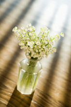 Lily Of The Valley Flowers In Glass Vase On Wooden Table.