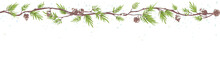 Christmas Seamless Border. Vector Illustration With Fir Branches, Snow Covered Trees.