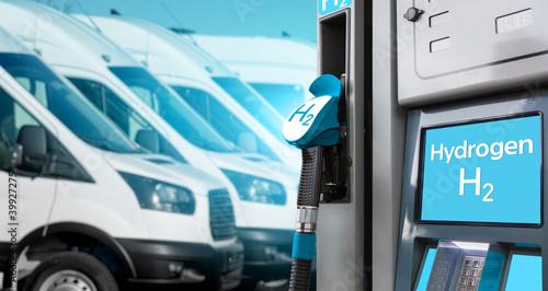 Fotografie, Obraz Self service hydrogen filling station on a background of vans