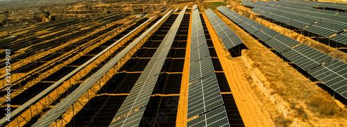 Fototapeta Aerial photography of outdoor solar photovoltaic base obraz