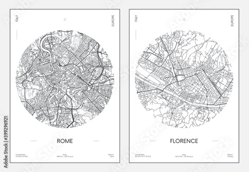 Tableau sur Toile Travel poster, urban street plan city map Rome and Florence, vector illustration