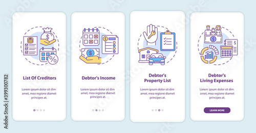Cuadros en Lienzo Creditor and debtor onboarding mobile app page screen with concepts