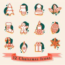 Christmas Icon Set In Red And Green Colors. Vector Illustration Of Pine Tree, Gift, Snowflake, Hat, Mitten, Candle, Pinecone, Mistletoe Branch, Gingerbread Man, Candy Cane And Christmas Stocking