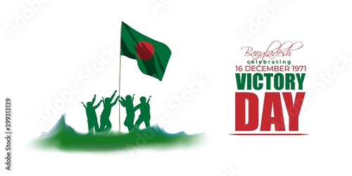 Canvas Print Vector illustration for Bangladesh victory day, national day, soldiers, flag hoisting, pigeon, mountain on abstract background with patriotic color theme