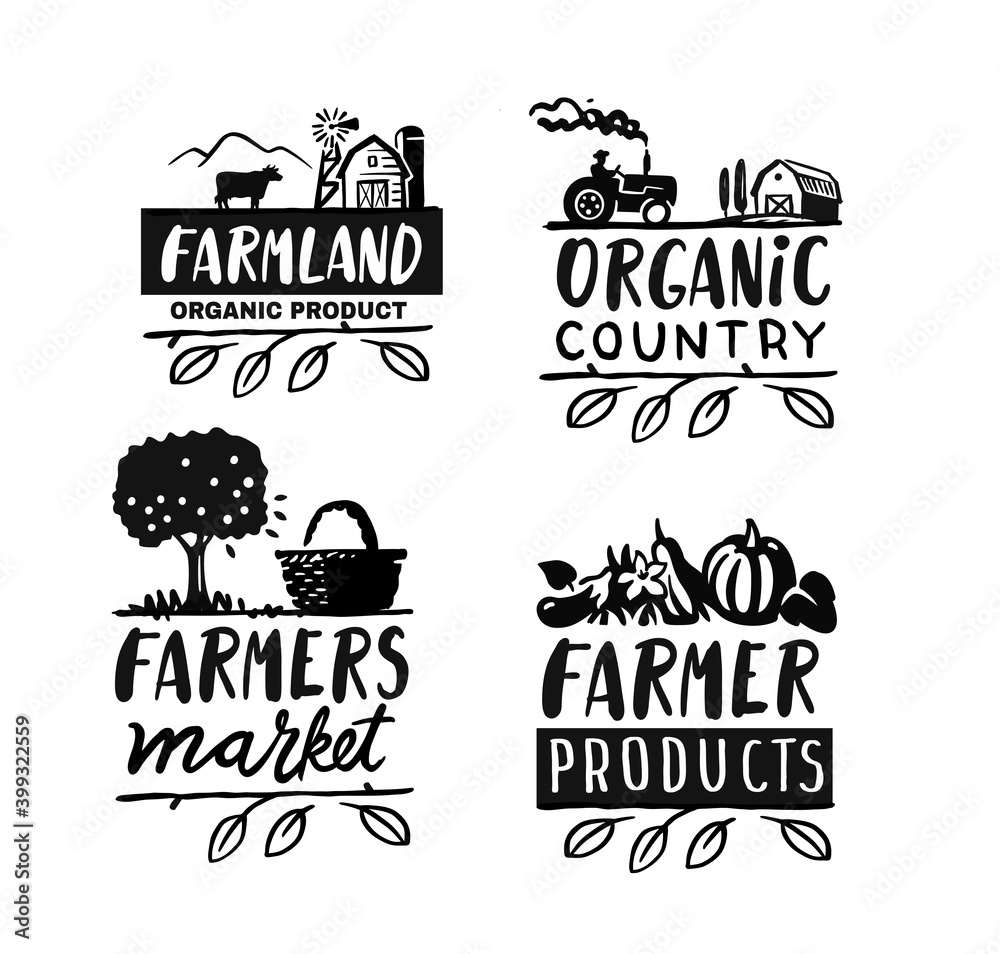 Fototapeta Village emblem with text. Farmer signs for products