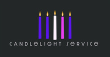 Four Purple And Pink Candles Of Advent Plus The Candle Of Christ In The Center. Graphic For Candlelight Service.