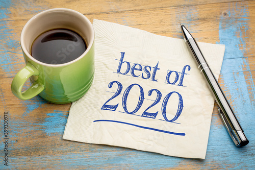 Canvas best of 2020 -  handwriting on a napkin with a cup of coffee, product or busines