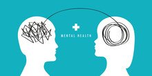 Mental Health Human Brain Silhouette Psycho Therapy Concept Vector Illustration EPS10