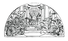Art Heliodorus Driven By Raphael, From Sistine Chapel Ancient Times, Vintage Lineart  Drawing,