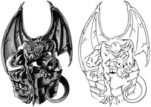 Gothic Statue Chimera Gargoyles, Hand-drawn Vector Illustration With Gothic Guards Include Architectural Elements Of A Roof With A Chimney, Ancient Medieval Statues.
