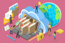 3D Isometric Flat Vector Conceptual Illustration Of Document Management System, Searching Files In Organized Archive.