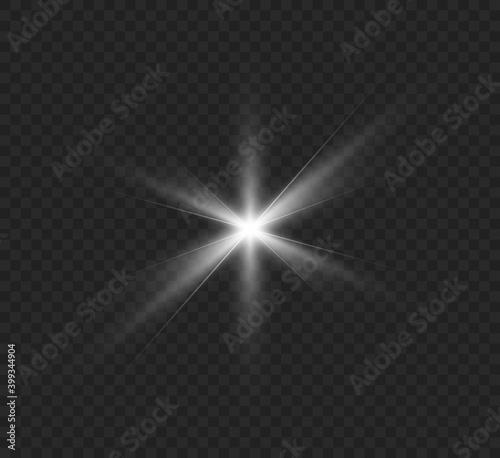 Obraz na plátně White glowing light explodes on a transparent background